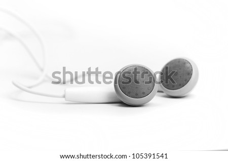 concept of digital music white Headphones isolated - stock photo