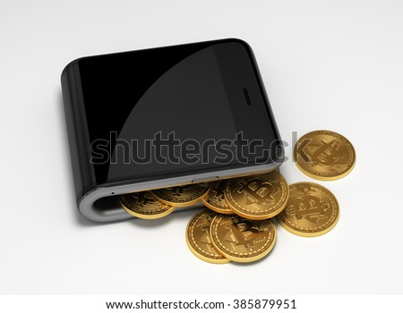 Concept Of Digital Wallet And Bitcoins. 3D Scene. - stock photo