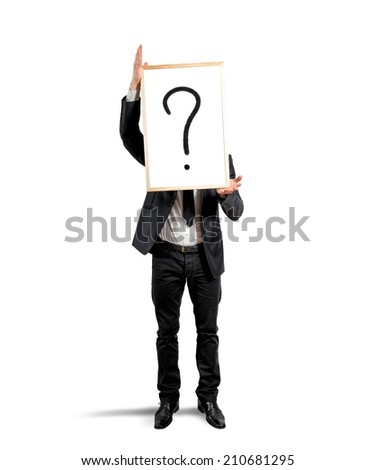 Concept of doubt and question of a businessman - stock photo