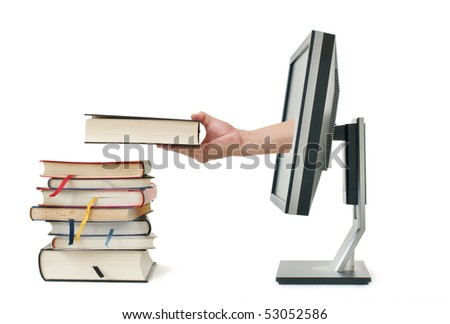Concept of download the e-book via internet book store,isolated with white background - stock photo