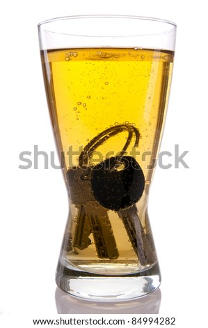 Concept of Drinking and Driving, beer and car keys - stock photo