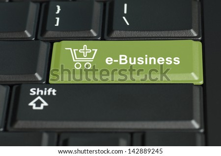 Concept of e-commerce . The focus is on the enter key with the shift button on the bottom
