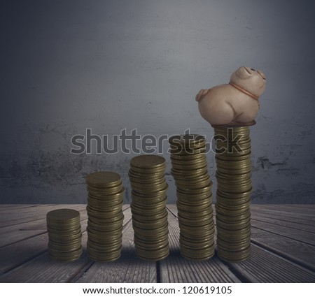 Concept of earn with secure investment - stock photo