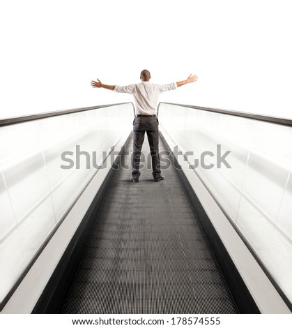 Concept of Easy way to success with businessman and escalator - stock photo