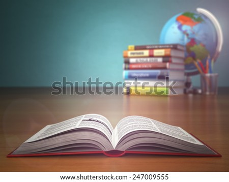 Concept of education. Open book wich pencils and globe on green vintage background - stock photo
