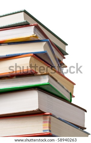 Concept of education or back to school. Stack of books isolated on white background.