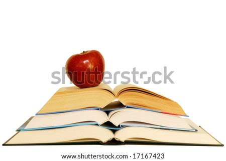 Concept of education with books and apple.