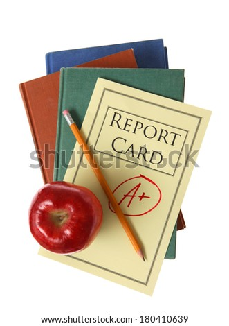 Concept of education with books and apple - stock photo