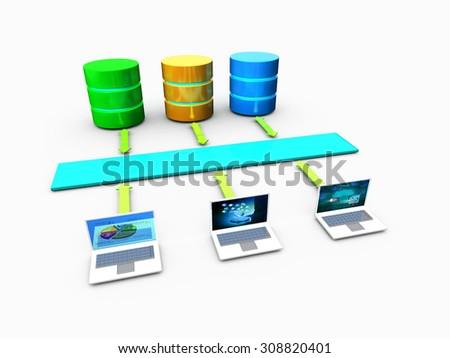 Concept of Enterprise business database connection  - stock photo