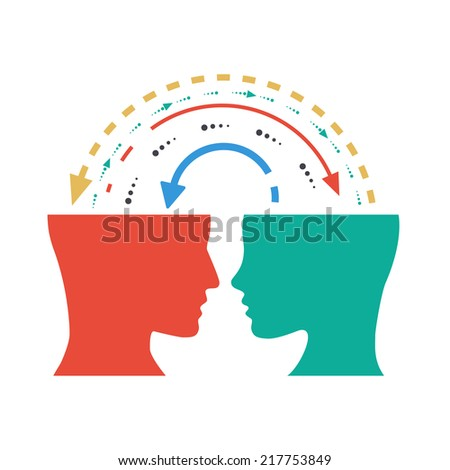 concept of exchange of ideas, experiences and thoughts - stock photo
