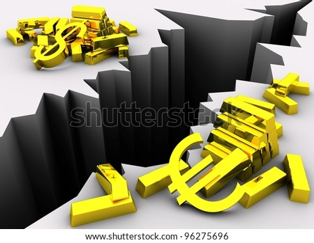 Concept of exchange rate difference. Golden Dollar and Euro symbols near gold bars separated by symbolic crack in the ground that is illustrating difference in Dollar and Euro exchange rate. - stock photo