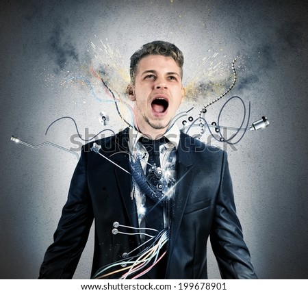 Concept of explosion of overheat businessman robot - stock photo