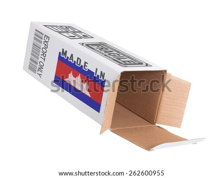 Concept of export, opened paper box - Product of Cambodia - stock photo