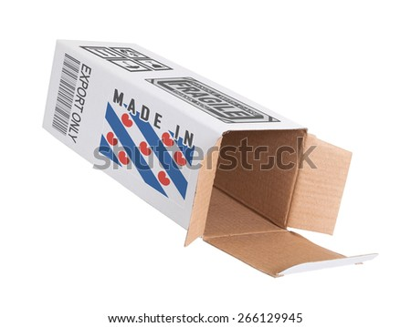 Concept of export, opened paper box - Product of Fryslan - stock photo