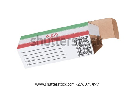 Concept of export, opened paper box - Product of Iran - stock photo