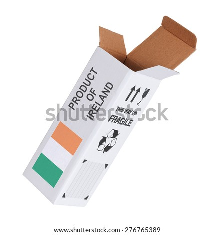 Concept of export, opened paper box - Product of Ireland - stock photo