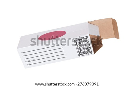 Concept of export, opened paper box - Product of Japan - stock photo