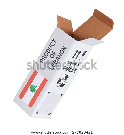 Concept of export, opened paper box - Product of Lebanon - stock photo