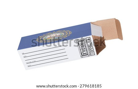 Concept of export, opened paper box - Product of New Hampshire