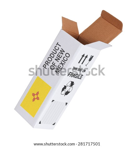 Concept of export, opened paper box - Product of New Mexico - stock photo