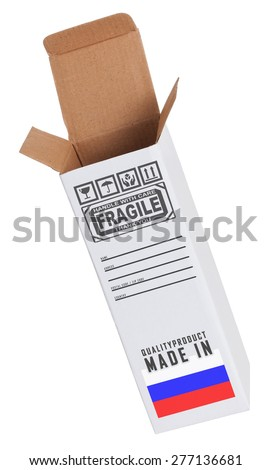 Concept of export, opened paper box - Product of Russia