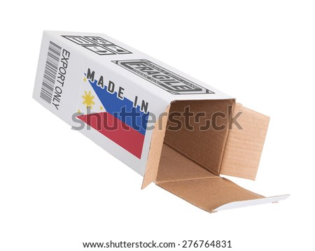 Concept of export, opened paper box - Product of the Czech Republic - stock photo