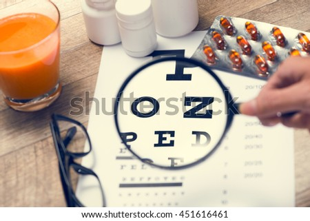 Concept of Eyes care for healthy eyes. - stock photo