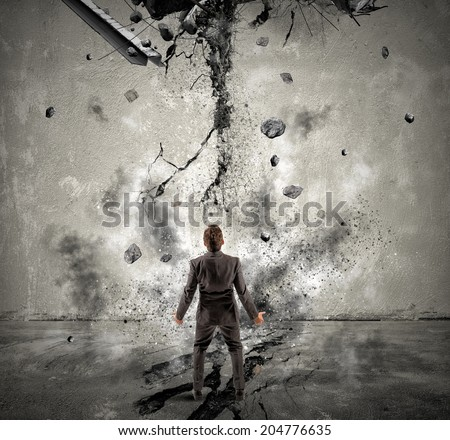Concept of failure of a businessman due to crisis - stock photo