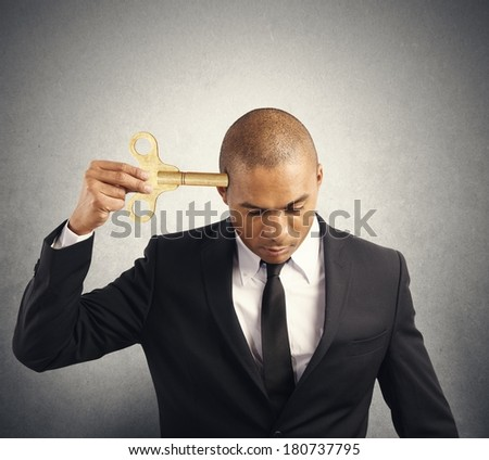 Concept of failure with businessman discharge energy