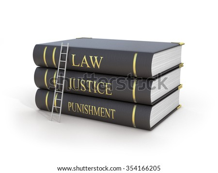 Concept of fair trial. Staircase upstairs three books with name law, justice and punishment on a white background. - stock photo