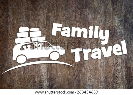 Concept of family travel by a car - stock photo