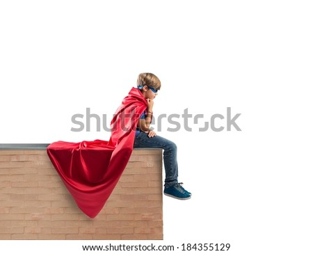 Concept of fantasy of a super hero child - stock photo