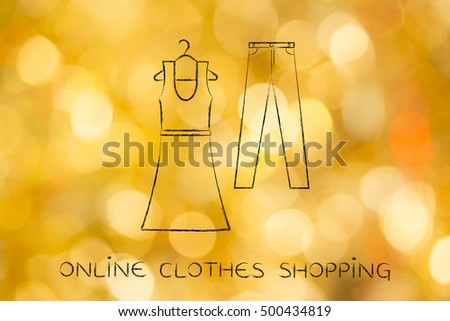 concept of fashion industry trends and choices: dress and jeans illustration, chalk outline style