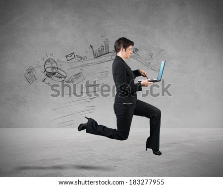 Concept of fast business with running businesswoman - stock photo