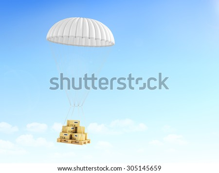 Concept of fast delivery. Cardboard boxes on the pallet, falling on the parachute on a sky background. - stock photo