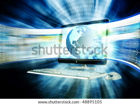Concept of fast internet browsing with an lcd screen flashing a series of website in fast paced. - stock photo