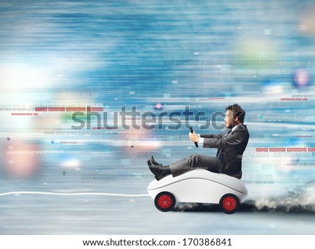 Concept of fast internet with running mouse - stock photo