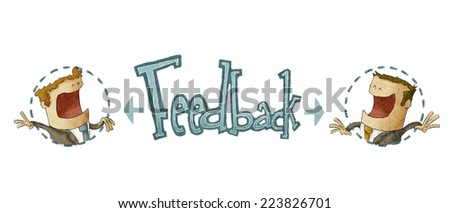 concept of feedback in white background, illustration of two businessman - stock photo