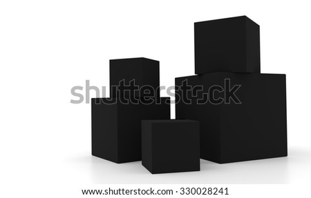 Concept of five 3d black boxes isolated on white background. Rendered illustration.