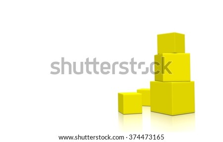 Concept of five 3d yellow boxes isolated on white background. Rendered illustration.  - stock photo
