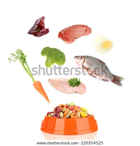 Concept of food for pets. Food falling in pet's bowl isolated on white - stock photo