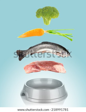 Concept of food for pets. Food falling in pet's bowl on blue background - stock photo