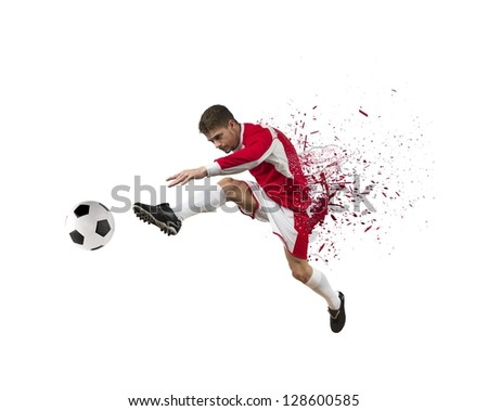 Concept of football player on white background - stock photo