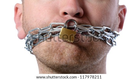 Concept of freedom of speech or no talking isolated on white - stock photo