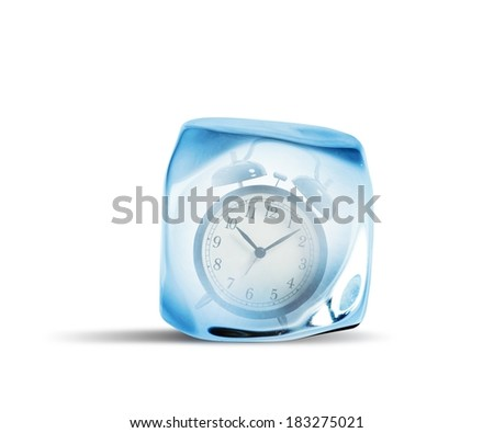 Concept of freeze time  with alarm inside the ice - stock photo