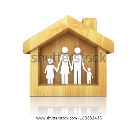 concept of full happy family in house on white background - stock photo