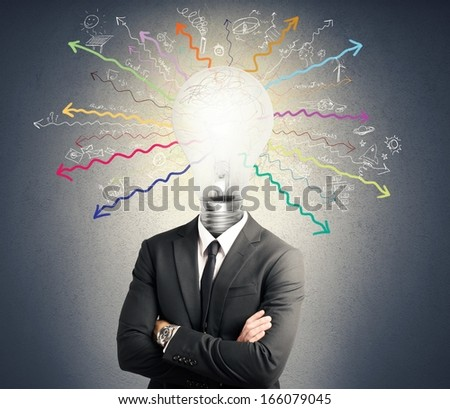 Concept of genius with illuminated light bulb in head - stock photo