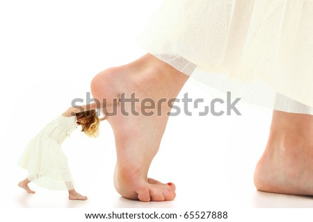 Concept of girl child with self motivation, self help, pushing forward, with courage and perseverance. - stock photo