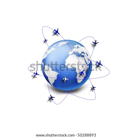 Concept of global business air communication - stock photo