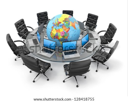 Concept of global business communication. Laptops and armchairs around table with earth. 3d - stock photo